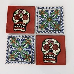 Mexican Tiles Hand Painted Sugar Skull Floral